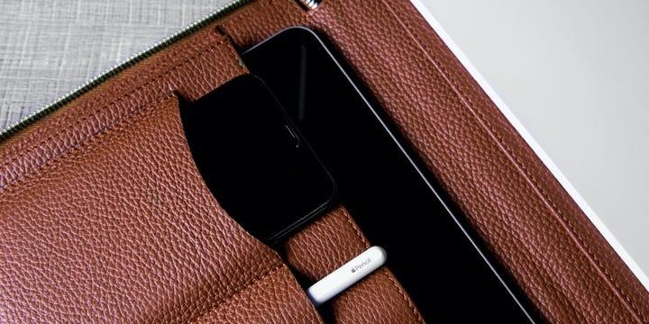 Lyxig A4-portföljmapp - Tan - Granulerat läder