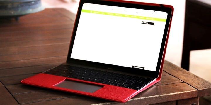 Fodral i Läder till Apple MacBook 12 tum - Röd - Granulerat läder